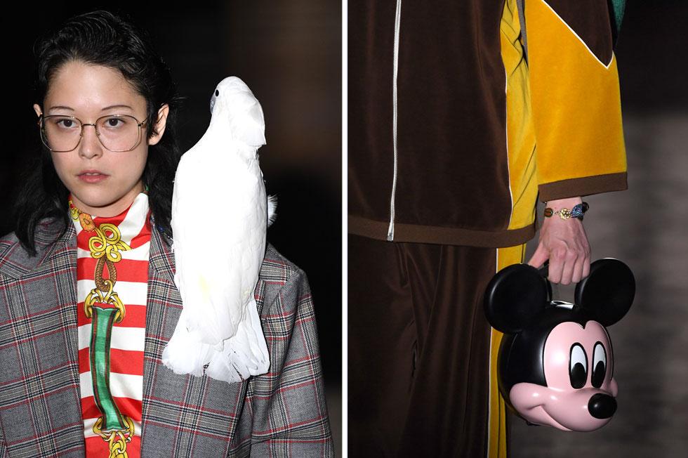 אפשר לסמוך על המעצב אלסנדרו מיקלה מגוצ'י שישלח למסלול בגדים שיהפכו מיד ללהיטי תיוג באינסטגרם. העונה היו אלה תוכי לבן שנח על כתפה של דוגמנית, תיקים בצורת ראשו של מיקי מאוס, וז'קט עם הדפס של הזמרת דולי פרטון. למעריצים בלבד (צילום: Pascal Le Segretain/GettyimagesIL)