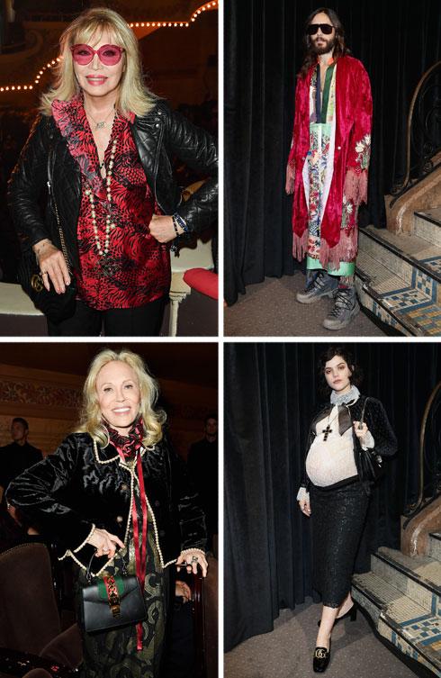 בית האופנה האיטלקי גוצ'י, שהציג העונה בפריז, ניצח בקטגוריית השורה הראשונה עם רשימת מפורסמים מפוארת, ששילבה בין צעירים ומבוגרים, בין כוכבות עבר כמו השחקנית פיי דאנווי והזמרת אמנדה ליר, למובילי אופנה עכשוויים כגון המוזיקאית סוקו והשחקן ג'ארד לטו בתלבושת מרהיבה נוספת (צילום: Vittorio Zunino Celotto, Jacopo Raule/GettyimagesIL)