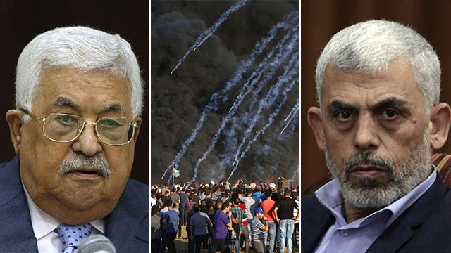 Sinwar and Abbas (Photo: AFP, AP)
