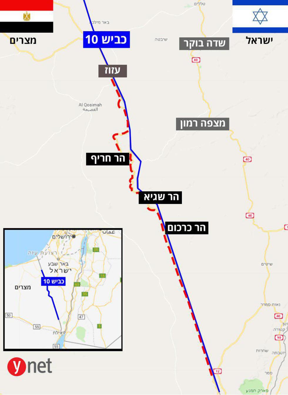 מפה כביש 10 גבול עם מצרים אסף קמר ()