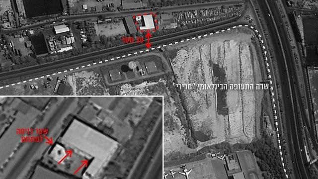 Расположение объектов, атакованных в аэропорту Дамаска