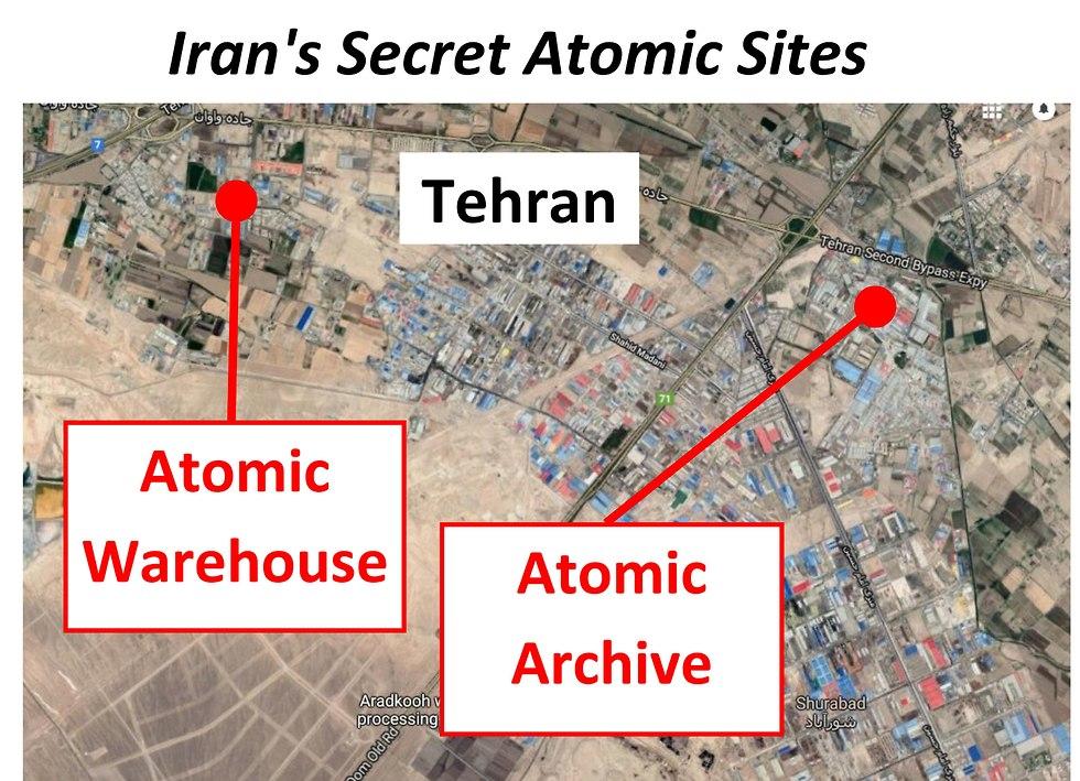 מפה של אתר גרעין ב איראן ש בנימין נתניהו הציג ב נאום ב או
