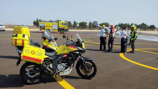 תאונת מטוס בהרצליה  (צילום: תיעוד מבצעי מד