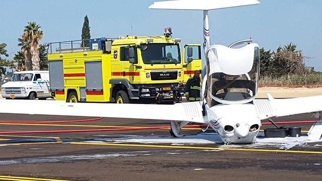 תאונת מטוס בהרצליה  (צילום: דוברות רשות שדות התעופה)