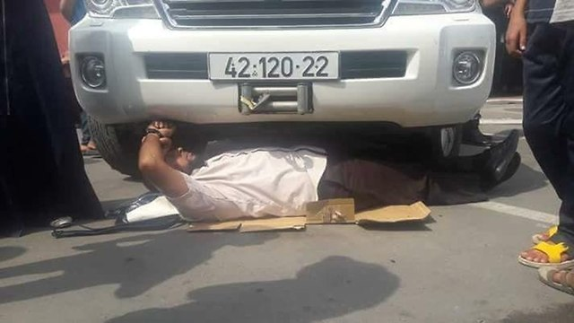 Protester lying underneath Schmale's car