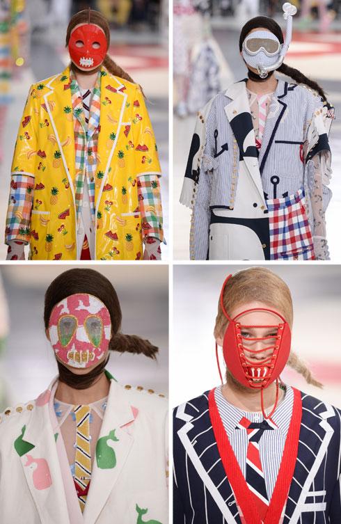 שנה ל-MeToo#, הפכה תצוגת האופנה של המעצב האמריקאי תום בראון בפריז לדיון על השתקתן של נשים. המעצב שלח למסלול דוגמניות עם מסכות שהסתירו את פניהן במקרה הטוב, וחסמו את פיהן במקרה הרע. בין אם מדובר בביקורת על השתקת נשים או לא, התוצאה הסופית מטרידה (צילום: Francois Durand/GettyimagesIL)