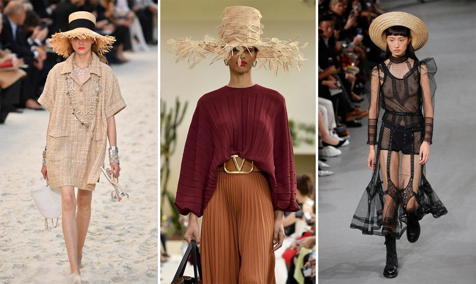 האביזר שמסתמן כלהיט של בתי האופנה לקיץ הבא הוא, כמה מקורי, כובע קש. אחרי שכובעי הענק מקש של בית האופנה ג'קומוס כבשו כל פאשניסטה ובלוגרית בסביבה, הפעם ראינו פרשנויות אופנתיות אצל ולנטינו, גליאנו ושאנל  (צילום: Pascal Le Segretain/GettyimagesIL, AP)