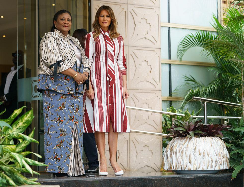 אירוניה באופנה? טראמפ בשמלה של סלין במחיר 2,000 דולר (צילום: AP)