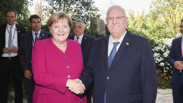 Merkel and Rivlin at the President's Residence (Photo: Ohad Zwigenberg)
