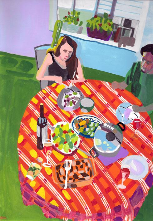 ''ארוחת שכנים'' היא עבודת גואש של הילה שפיצר, שהוצגה בחממת האמנים של יריד ''צבע טרי'' במחיר של 1,500 שקלים (צילום: הילה שפיצר, באדיבות צבע טרי)