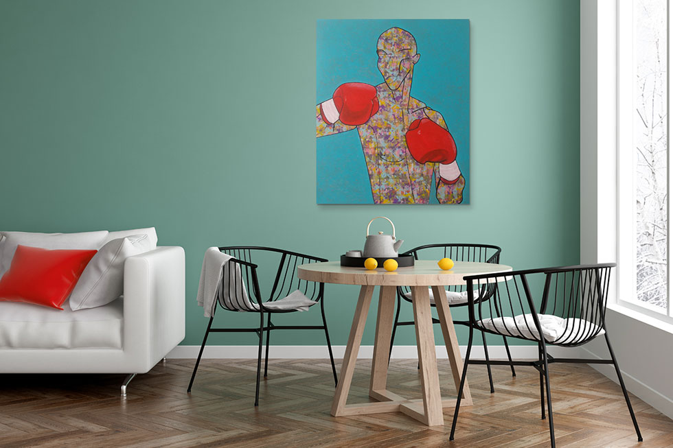 ציור אקריליק על בד של קטיה גאלי, 3,900 שקלים בגלריה ''פחות מאלף''. יצירות אמנות מקוריות היו פעם נחלתם של אספנים בעלי ממון. היום המחירים נגישים בהרבה  (צילום: גלריה פחות מאלף, איור: קטיה גאלי)