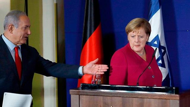 מסיבת עיתונאים בנימין נתניהו עם אנגלה מרקל (צילום: AFP)