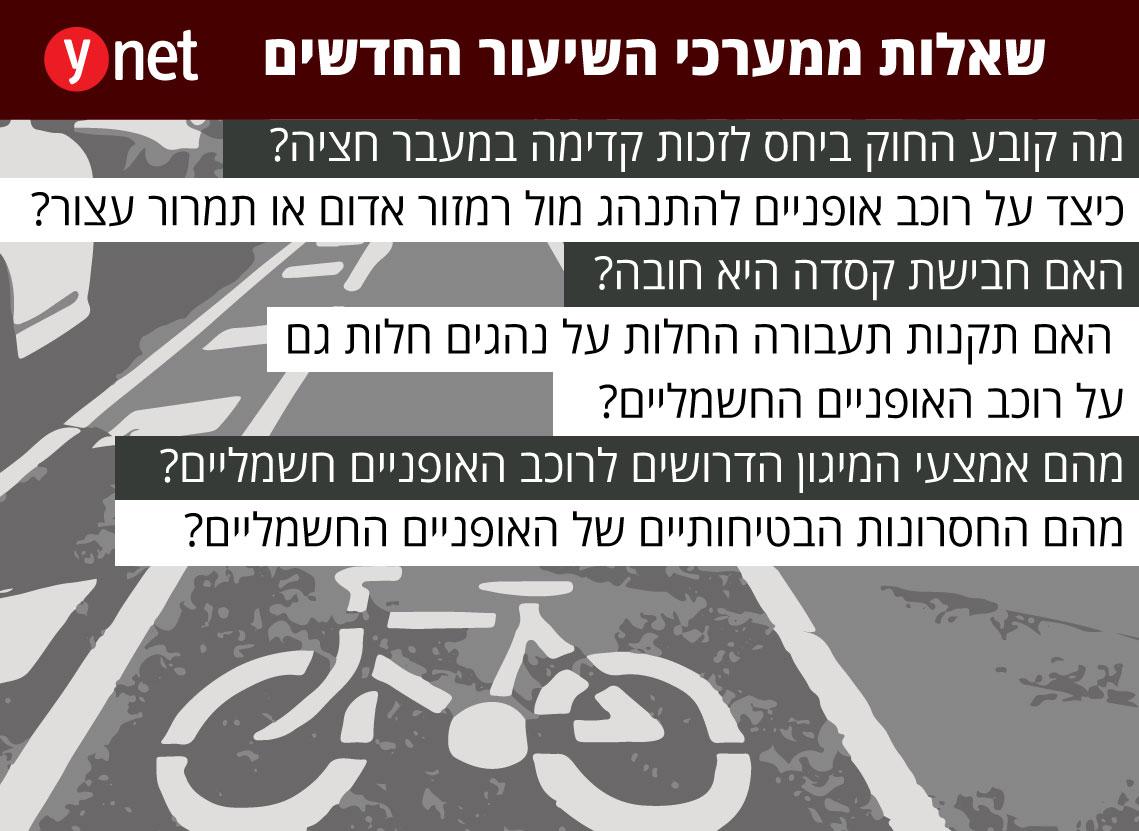 אינפו גרפיקה שאלות מערכי שיעור אופניים חשמליים תאונה תאונת דרכים ()