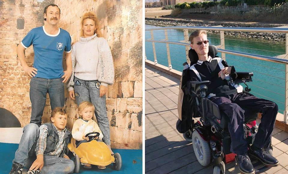 Алекс Фридман в детстве с родителями и старшим братом (слева) и сейчас