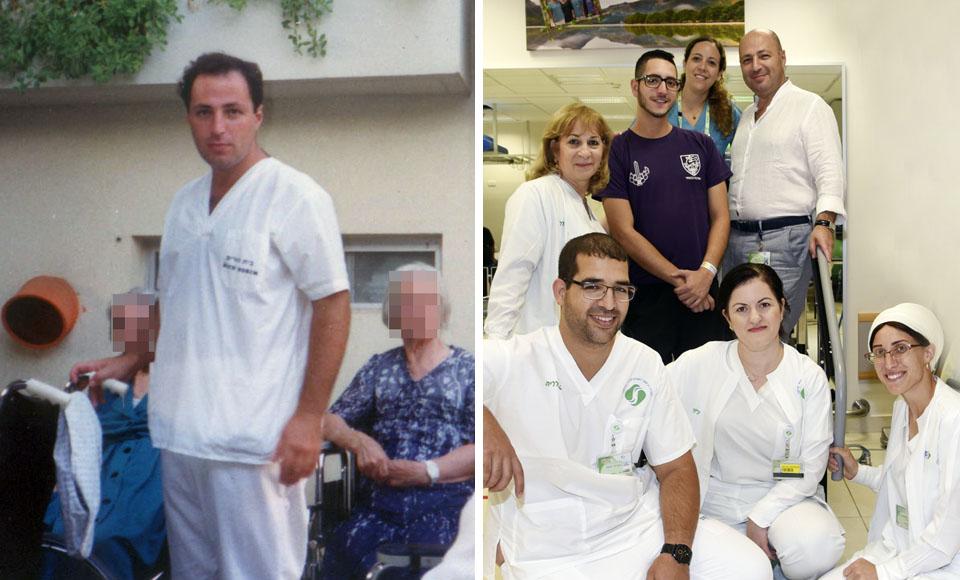 Доктор Трегер в первый год в Израиле (слева) и со спасенным солдатом и коллективом больницы в наше время (на фото - крайний справа)