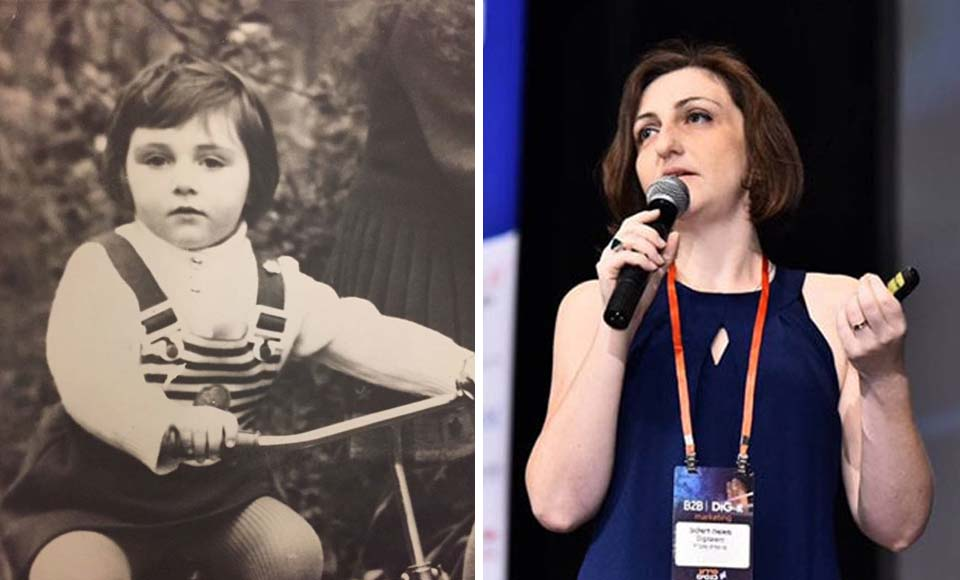 Маша Дашкова в три года и сегодня. Фото из личного архива