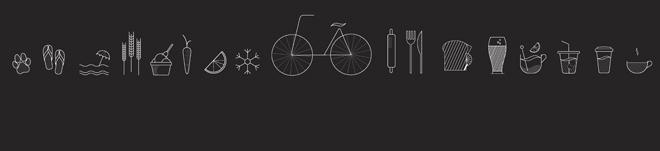 שמש, ים ואופניים: סדרת אייקונים חדשה בסגנון וקטורי-קווי (עיצוב: סטודיו H2O Pure Design)