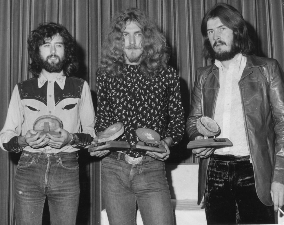 ג'ון בונהם, רוברט פלאנט וג'ימי פייג' (צילום:  Roger Jackson/Central Press/GettyImagesIL)