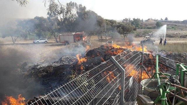 Fire in Kibbutz Gevim area