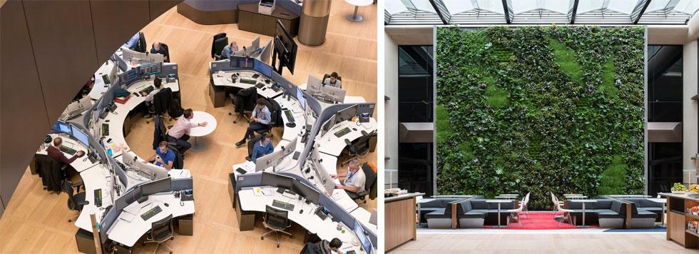 קיר ירוק ומבט מלמעלה על מקבץ עמדות. לוחות הרצפה מתפרקים, כדי לאפשר תנועה רציפה ונוחה של עובדים עם המחשבים ברחבי הבניין, ללא בעיית הטענה (צילום: James Newton)