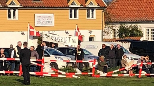 Protesters near the event