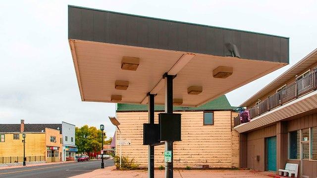 תחנת דלק נטושה ב אוולת' עיירת כורים ב מינסוטה לקראת בחירות האמצע ארה
