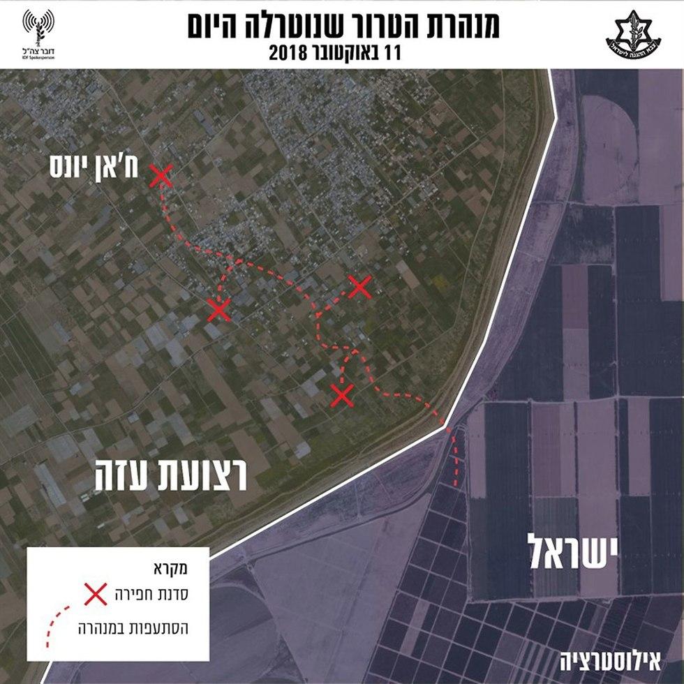 אילוסטרציה תוואי מנהרת טרור שנמצאה בשטחי ישראל (צילום: דובר צה