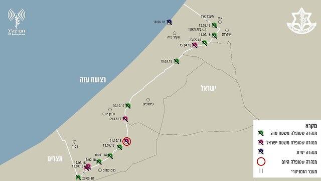 מפת נטרול מנהרות טרור שנמצאו בשטחי ישראל (צילום: דובר צה