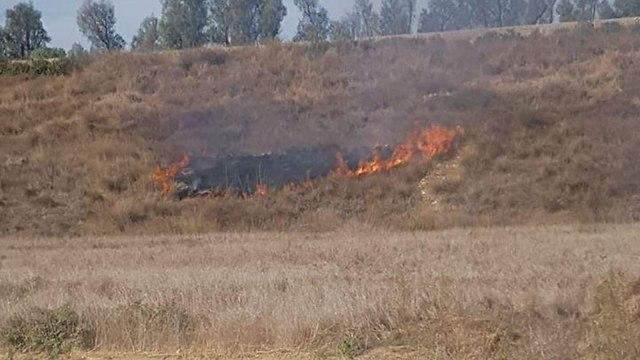 שריפה ליד פסי הרכבת לשדרות מבלון תבערה ()