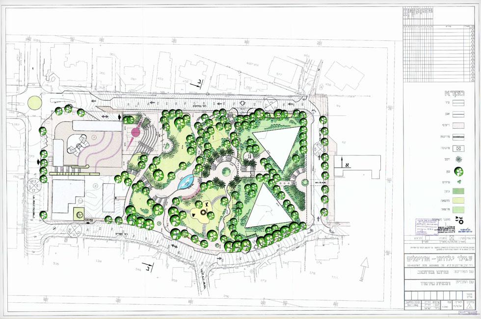 הנספח הנופי של התב''ע, שערכו אדריכלי הנוף גילר ולדרמן  (תוכנית: שלמה אהרונסון אדריכלים)