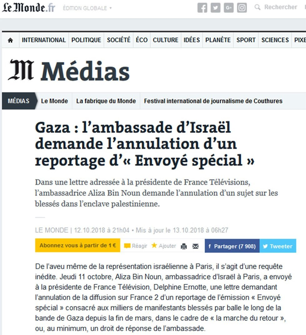 Le Monde on the Gaza injured teens article affair.