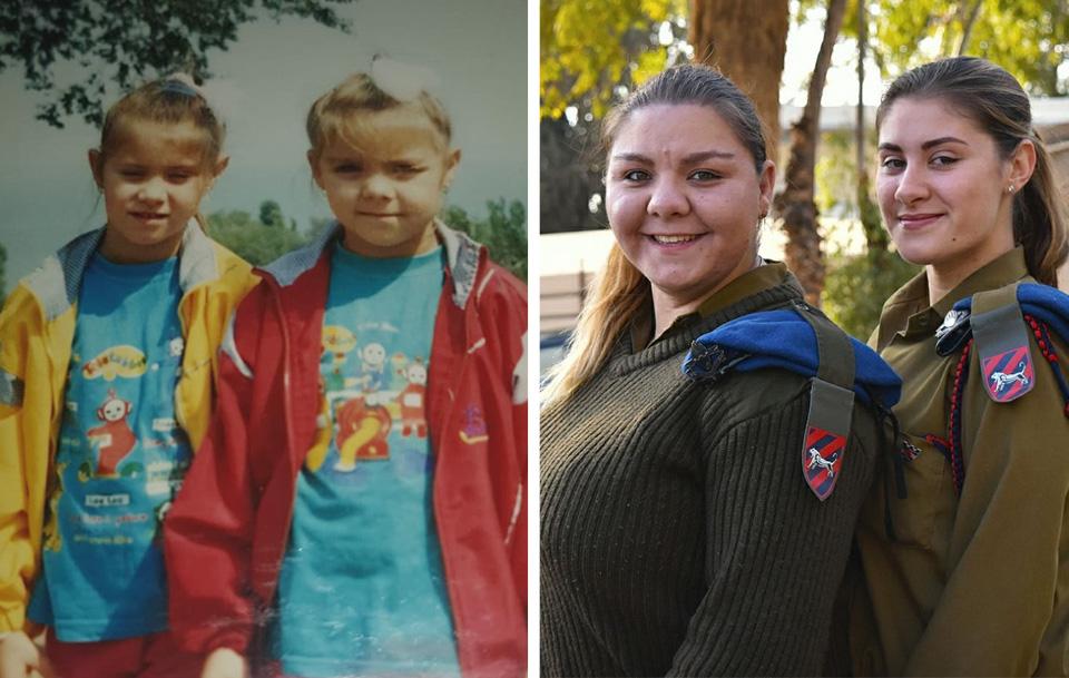 Ольга и Анна Карпенко в детстве (слева) и сейчас, во время службы в ЦАХАЛе