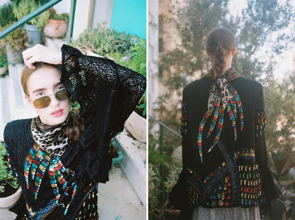 צעיף, לואי ויטון; חולצת פאייטים, seekers vintage (צילום: הילה כדי)