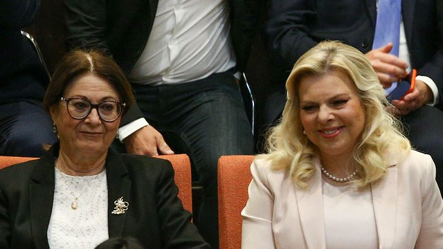 Sara Netanyahu watching the prime minister's speech (Photo: Ohad Zwigenberg)
