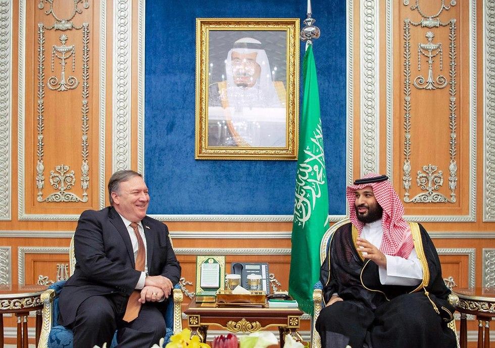מייק פומפאו עם מוחמד בן סלמאן ב סעודיה (צילום: EPA)