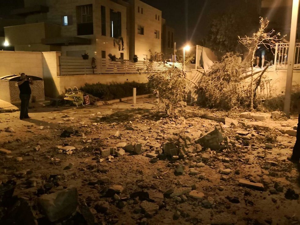 Debris after rocket hit in Be'er Sheva