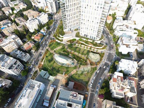 ועכשיו: מגדלים ופארק. משמאל: רחוב בורוכוב. מימין: רחוב השניים. למטה: המרכז המסחרי (צילום: שלמה אהרונסון  אדריכלים)