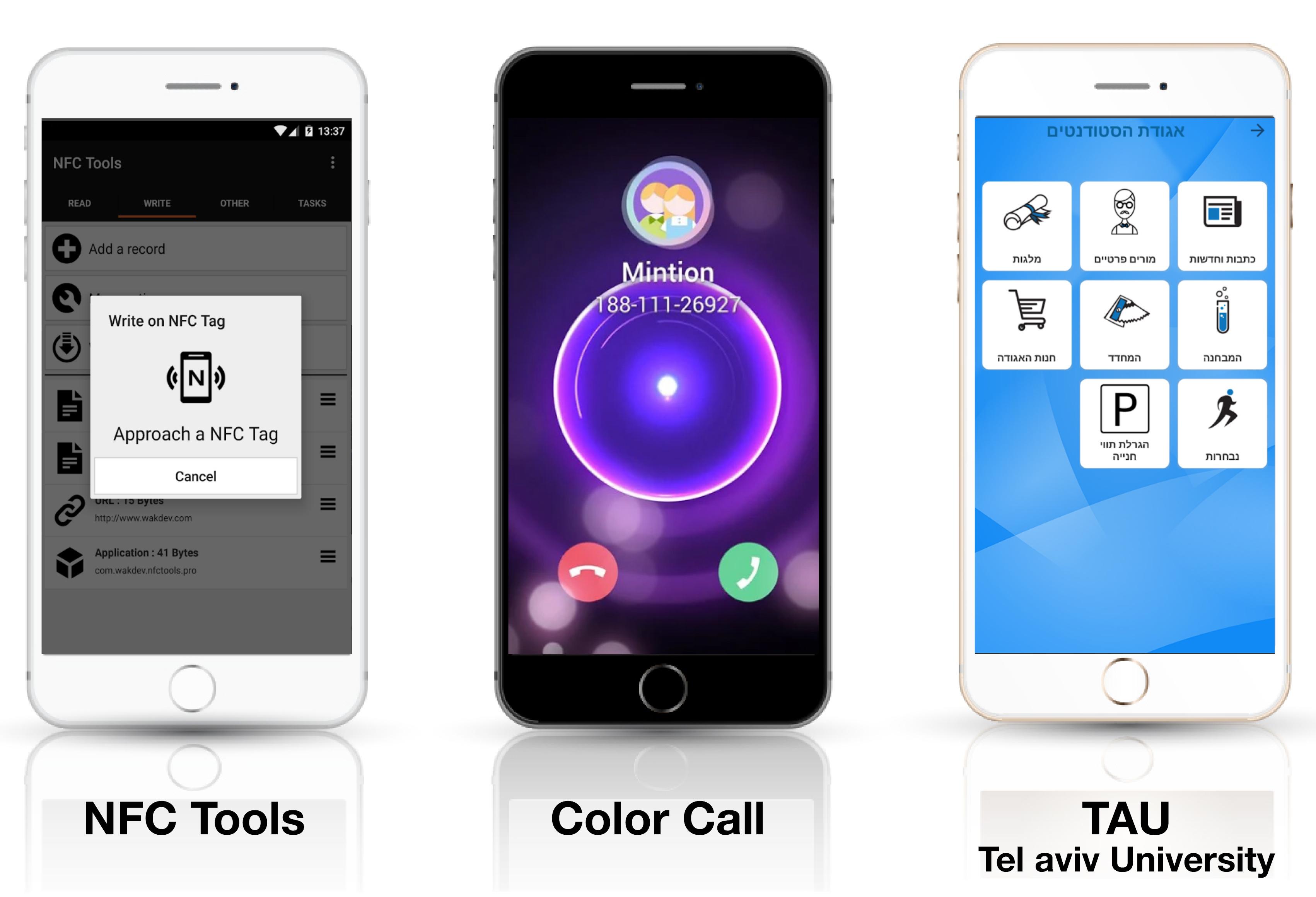 Приложения NFC Tools, Color Call и TAU