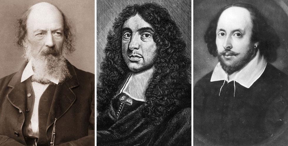 """וויליאם שייקספיר (מימין), אנדרו מארוול ואלפרד טניסון. """"שירים שיש בהם משהו משעשע או נוגע ללב"""" (צילום: GettyimagesIL)"""