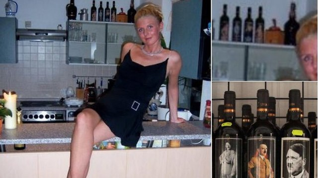 Jessica Biessmann posing in front of 'Hitler wine' (Photo: Twitter)