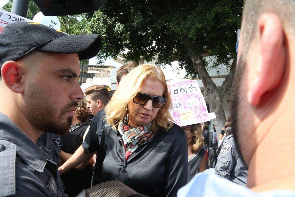 הפגנה מחאה נגד אלימות התעללות נשים רצח רציחות ב כיכר דיזנגוף תל אביב ציפי ליבני (צילום: מוטי קמחי)