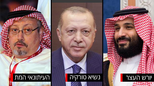 יורש העצר של סעודיה מוחמד בן סלמאן, נשיא טורקיה ארדואן וג'מאל חשוקג'י העיתונאי הסעודי (צילום: EPA, רויטרס, MCT)
