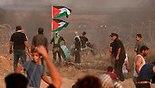 פלסטינים עימות עם כוחות (צילום: AFP)