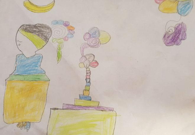 ציור של אחת הילדות: אמא מצוירת עם בורקה – שכבות של בגדים