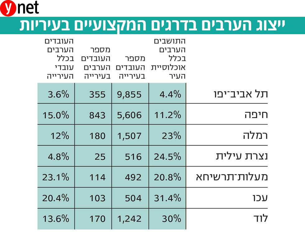 ייצוג הערבים בדרגים המקצועיים בעיריות (נתונים: