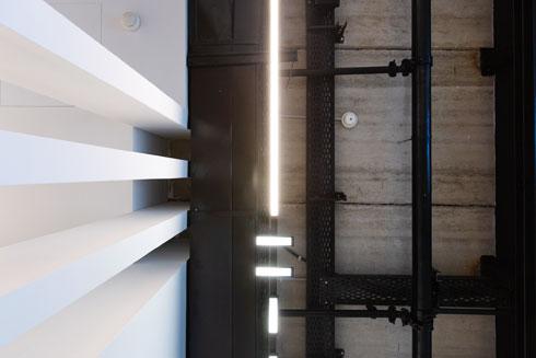גופי התאורה משתלבים במערכות המיזוג והחשמל החשופות (צילום: דור נבו)
