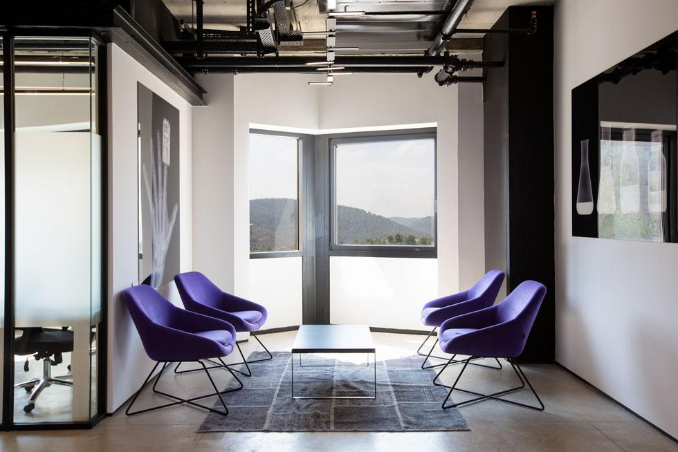רהיטים סגולים הם נקודות הצבע היחידות ועל הקירות עבודות של גיא ויינר, שצילם מוצרי ביומד שכבר יצאו לשוק (צילום: דור נבו)