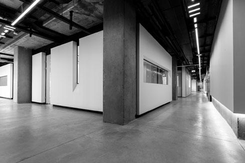 8 משרדים פרטיים בתוך הקובייה המחורצת (צילום: Miri Nagler)