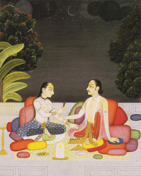 ההשראה: ציור הודי מסורתי, של זוג יושב על הרצפה, נתמך בכריות (צילום: Doshi Levien)