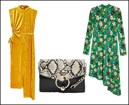 שמלת מידי פרחונית, 229.90 שקל; תיק צד מנוחש, 179.90 שקל; שמלת קטיפה עם מפתח קאט-אאוט, 199.90 שקל